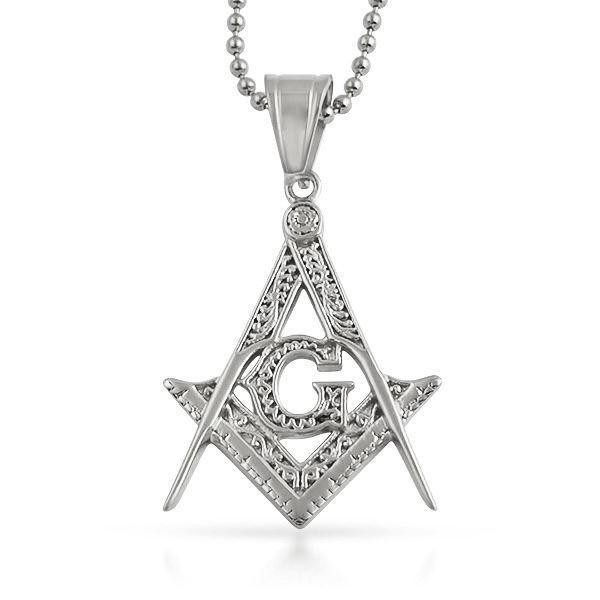 Medium Fancy Masonic Free Mason Pendant Stainless Steel