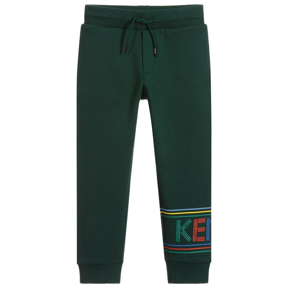Kenzo Kids Logo Print Joggers Colour: DARK GREEN, Size: 6 YEARS