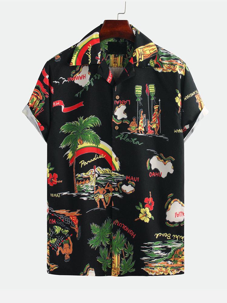 Mens Hawaiian Funny Printed Turn Down Collar Short Sleeve Loose Casual Shirt