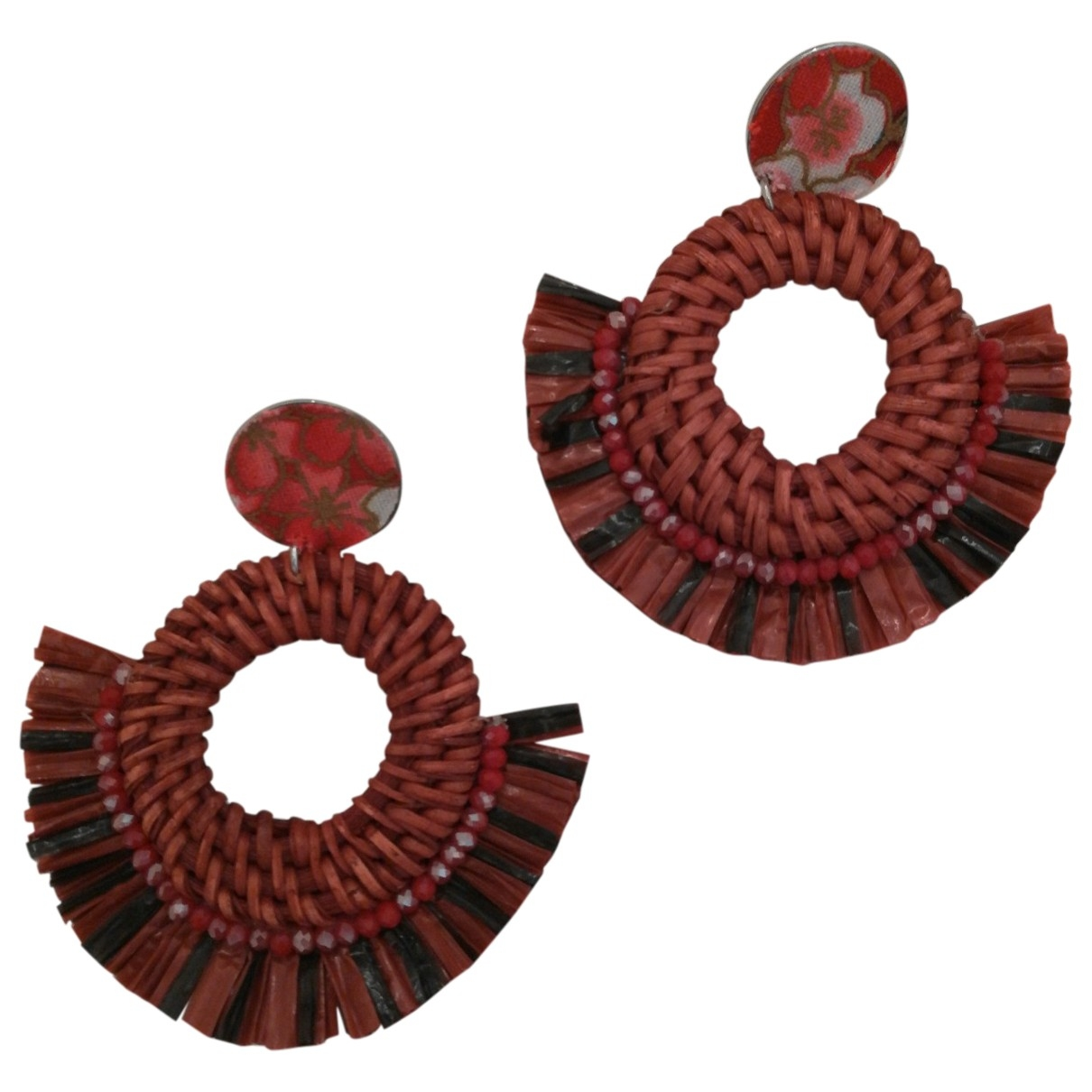 Non Signé / Unsigned \N Red Wood Earrings for Women \N