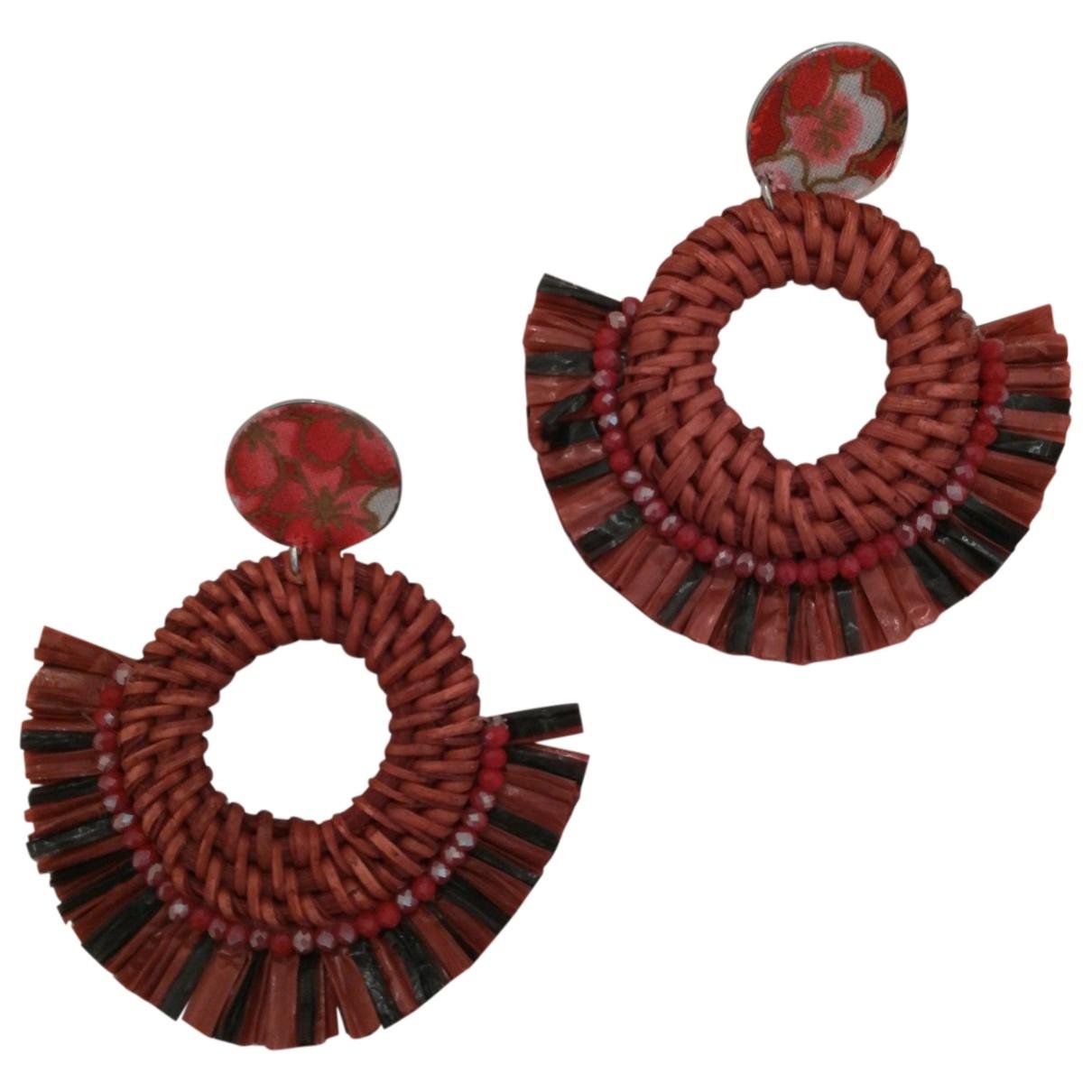 - Boucles doreilles   pour femme en bois - rouge