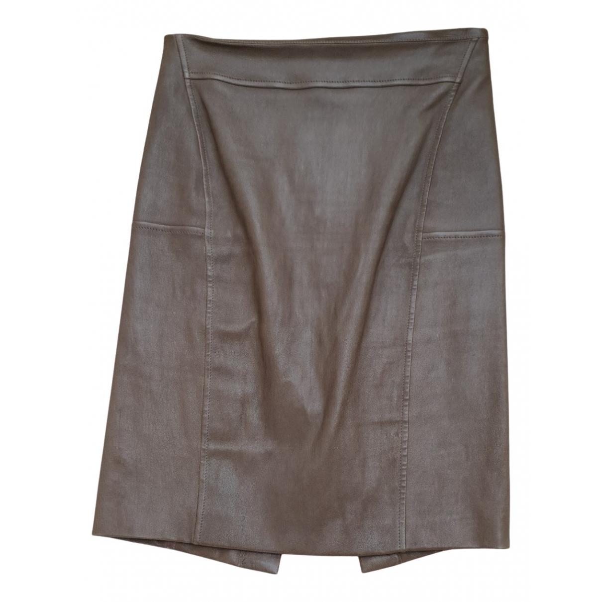 Brunello Cucinelli - Jupe   pour femme en cuir - marron