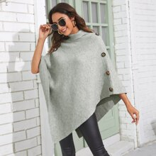 Button Side High Neck Sweater Poncho