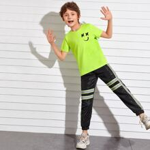Boys Cartoon Graphic Top & Wind Pants Set