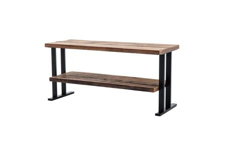 BM200110 50 Inch Wood and Metal TV Stand with a Bottom Shelf  Brown and
