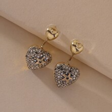 Rhinestone Decor Heart Earring Jackets