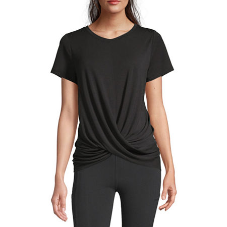 Xersion Womens Crew Neck Short Sleeve T-Shirt, Small , Black