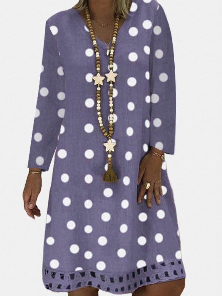 Polka Dot Printed V-neck Long Sleeve Midi Dress