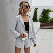 Space Dye Zip Up Hoodie & Drawstring Shorts Set