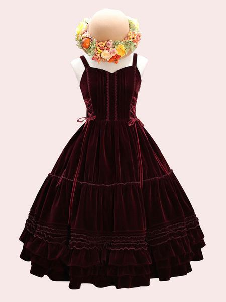 Milanoo Sweet Lolita JSK Dress Velour Lace Up Ruffle Lolita Jumper Skirts