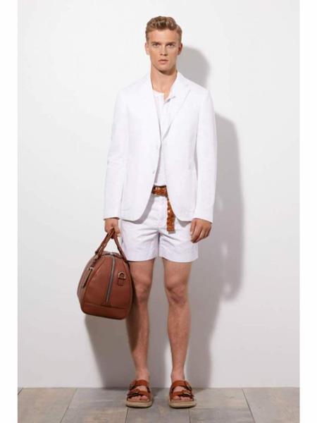 Men's Linen Fabric summer business suits with shorts pants set White