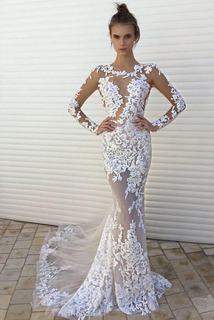 Scoop Trumpet/Mermaid Floor-Length Long Sleeves Evening Dress