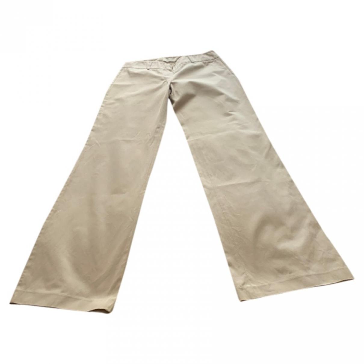 Max Mara 's \N Beige Cotton Trousers for Women 40 FR