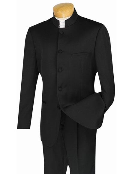 Men's Black Nehru Collar Design Suits with Single Pleated Pants