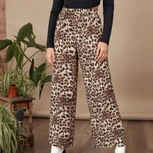 Pantalones de pierna ancha de leopardo