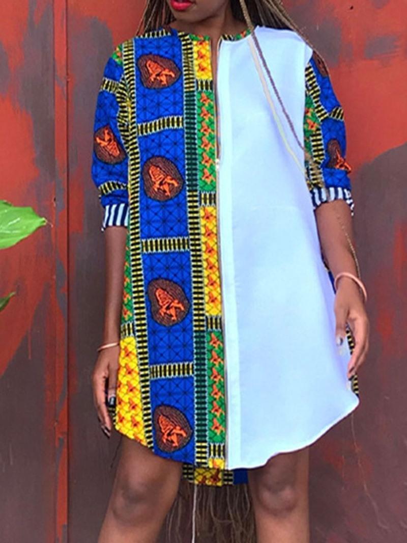 Ericdress Round Neck Patchwork Long Sleeve Zipper Color Block Dress
