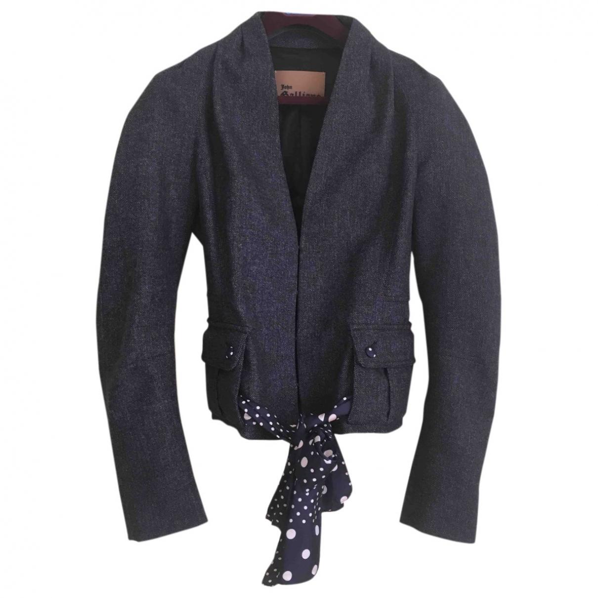 Galliano - Manteau   pour femme en tweed - marine