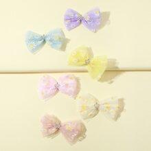 6 Stuecke Maedchen Haarklammer mit Gaensebluemchen Muster