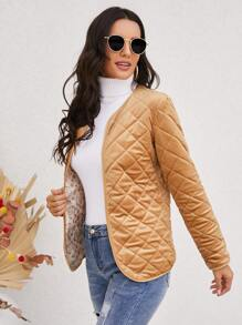 Open Front Quilted Coat