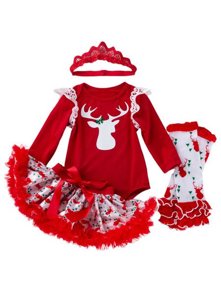 Milanoo Kid Christmas Set Ruffle Tutu Skirt With Cotton Print Top Red Holidays Costumes