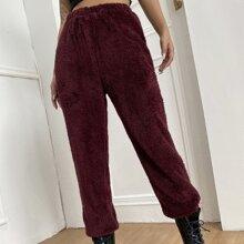 Elastic Waist Solid Flannel Pants
