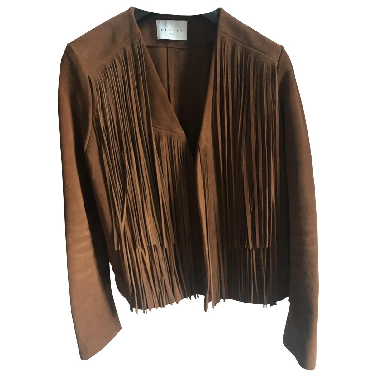 Sandro \N Camel Suede jacket for Women 40 FR