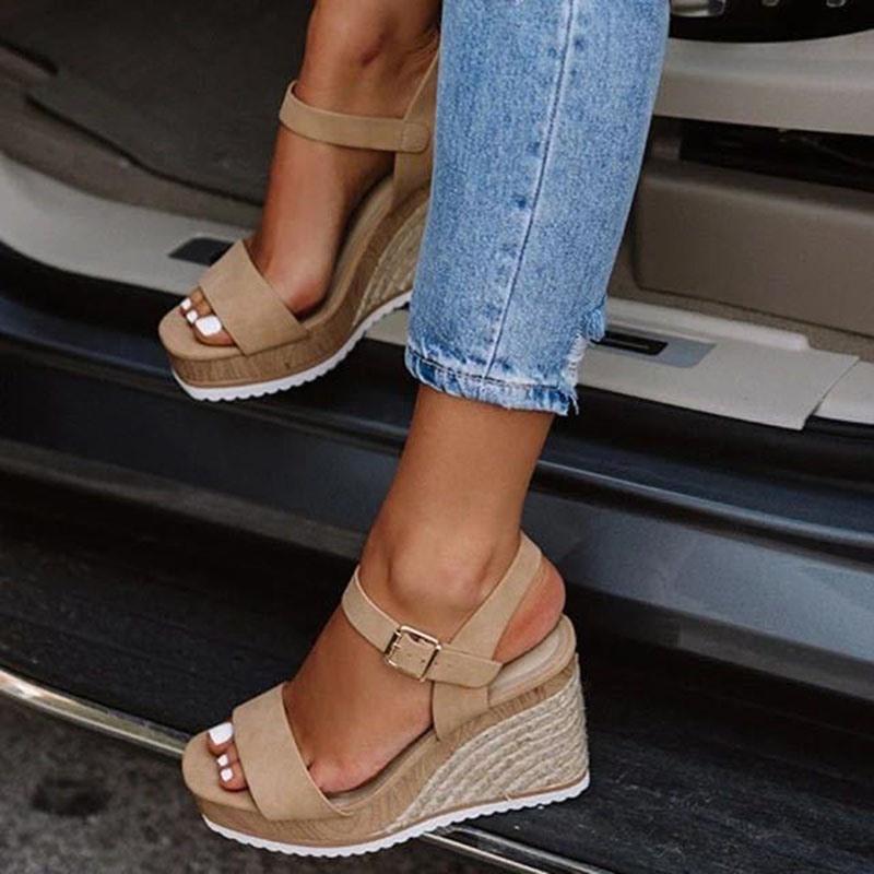 Ericdress Open Toe Buckle Wedge Heel Low-Cut Upper Women's Sandals