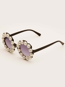 Girls Faux Pearl Decor Acrylic Frame Sunglasses