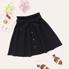 Toddler Girls Paper Bag Waist Belted Skirt