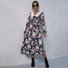Allover Floral Contrast Collar Dress
