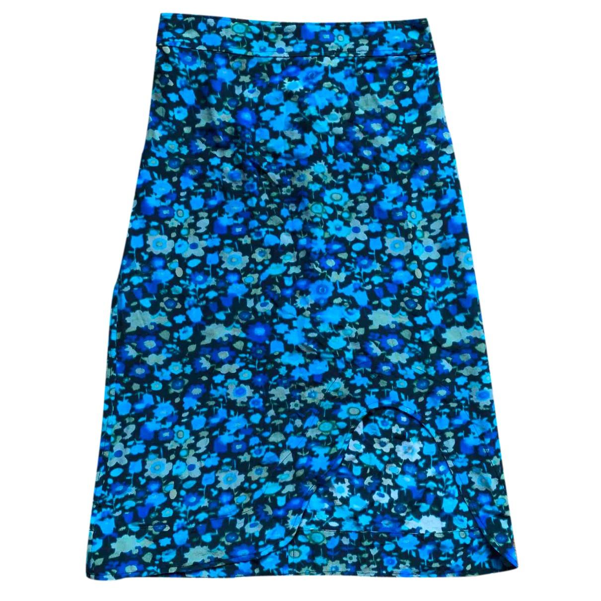 Ganni - Jupe   pour femme en soie - bleu
