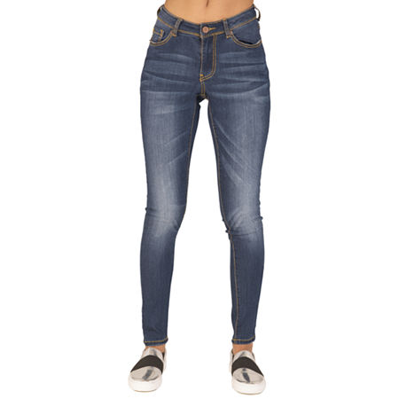 Poetic Justice Chanelle Womens Mid Rise Skinny Fit Jean, 32 , Blue