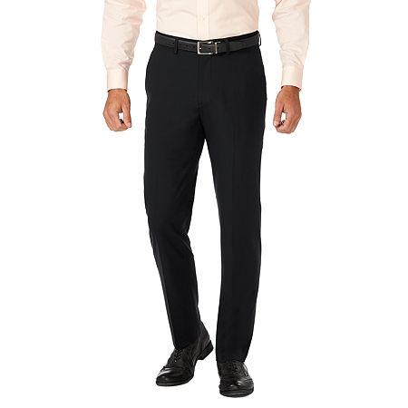 JM Haggar Slim Fit Flat Front Pant, 34 34, Black