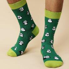 Maenner Socken mit Panda Muster
