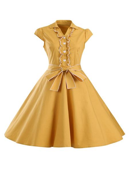 Milanoo Yellow Vintage Dresses Women's V-neck Short Sleeve Bows Casual Flare Dresses