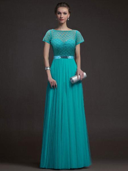 Milanoo Vestido de fiesta largo de encaje con turquesa de manga larga para mujer