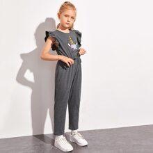 Girls Slogan and Unicorn Print Ruffle Armhole Jumpsuit