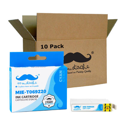 Compatible Epson 69 (T069220) cartouche d'encre cyan de Moustache, 10 paquet