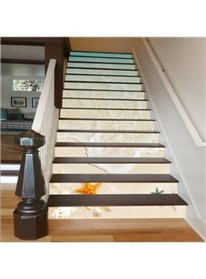 Shell and Starfish on The Beach 3D Waterproof Stair Murals