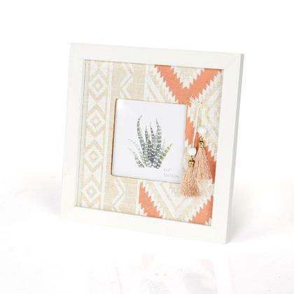Cadre photo en bois de lin imprimé géométrique d'époque, 21 x 21 cm - LIVINGbasics™