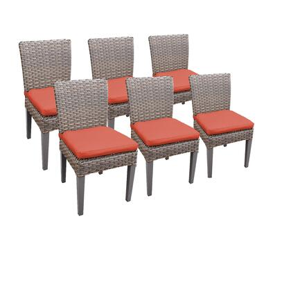 TKC290b-ADC-3x-C-TANGERINE 6 Oasis Armless Dining Chairs with 2 Covers: Grey and