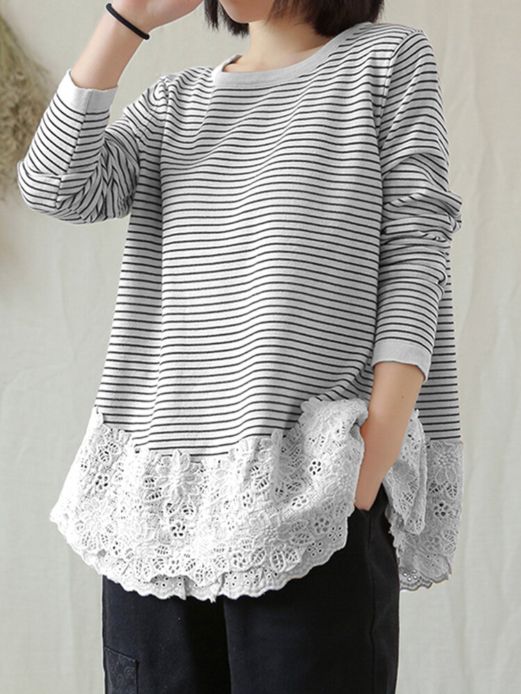 Striped Lace Patchwork Plus Size Blouse for Women