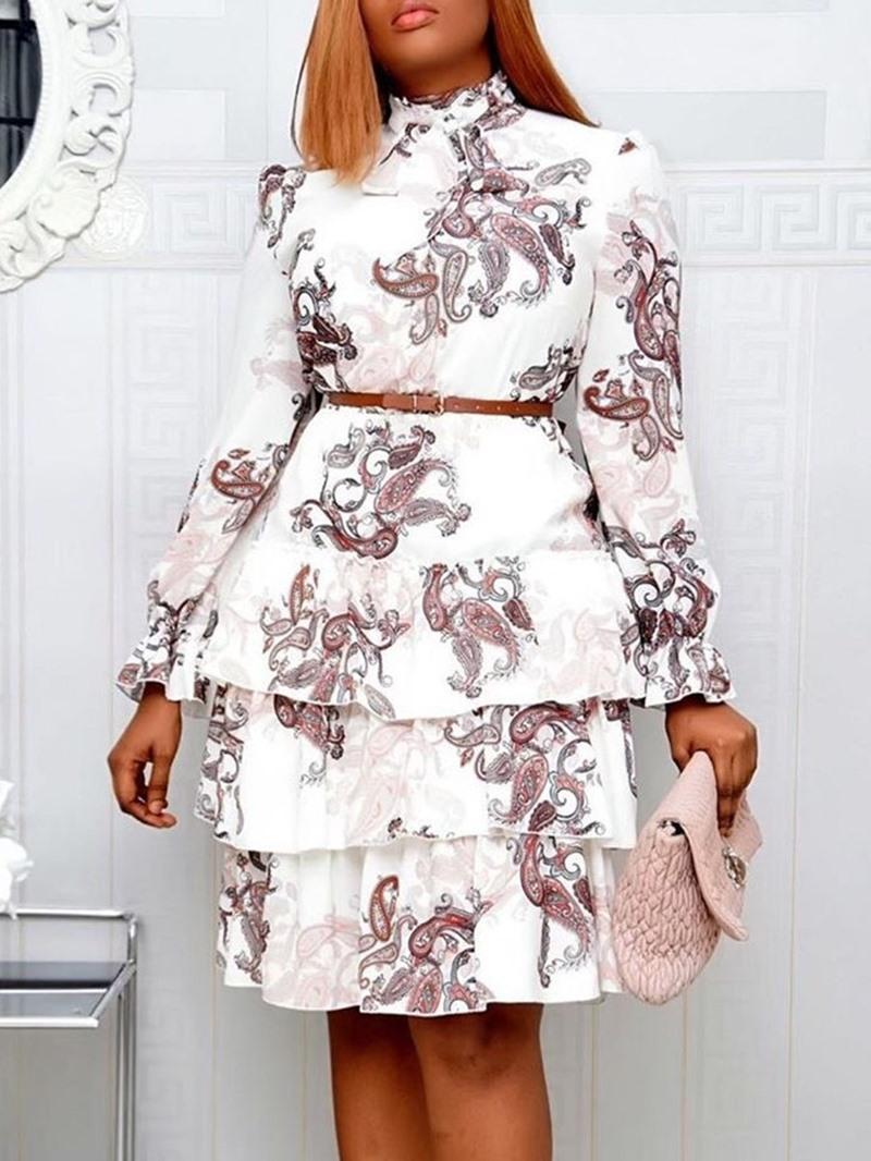Ericdress Long Sleeve Knee-Length Print Layered Dress High Waist Dress
