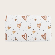 1pc Heart Print Makeup Bag