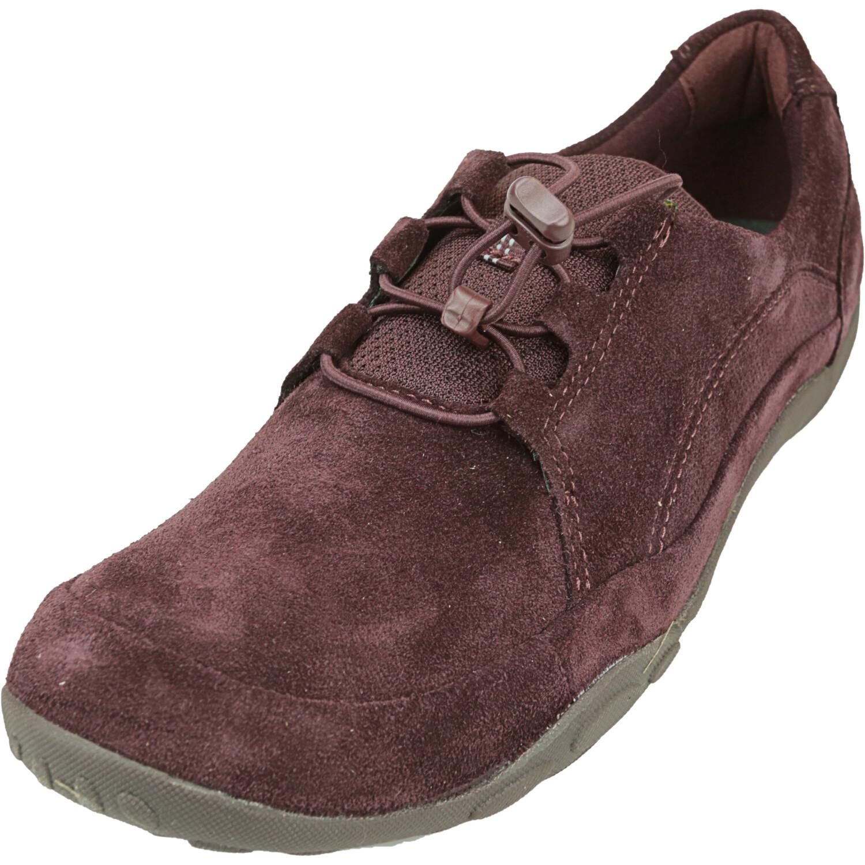 Clarks Women's Haley Rhea Suede Burgundy Ankle-High Leather Sneaker - 11M