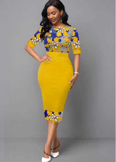 Women'S Yellow Half Sleeve Floral Knitting Spring Sheath Dress Vintage Midi Casual Dress By Rosewe - 10