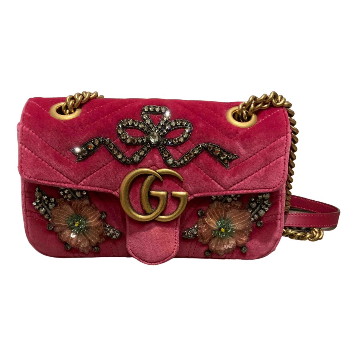 Gucci - Pochette Marmont pour femme en velours - rose