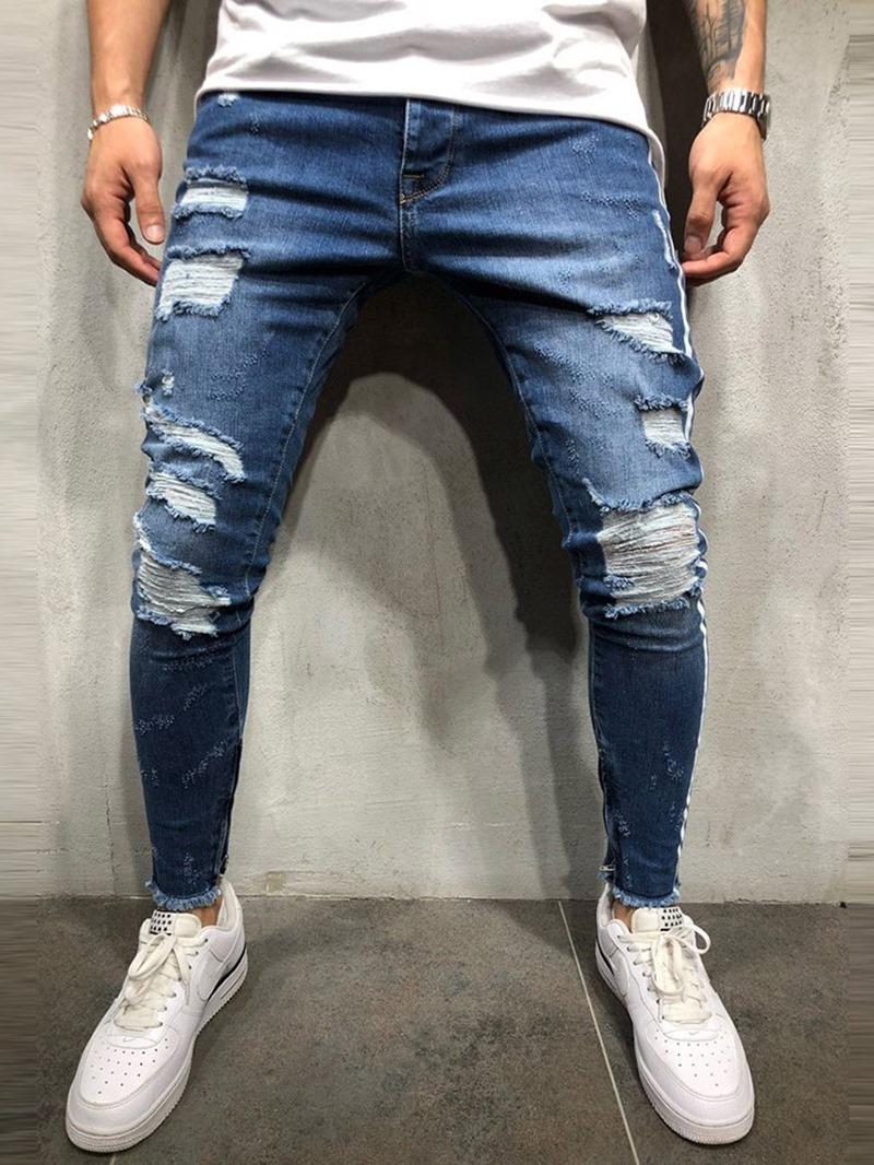 Ericdress Pencil Pants Stripe Hole Mid Waist European Men's Jeans