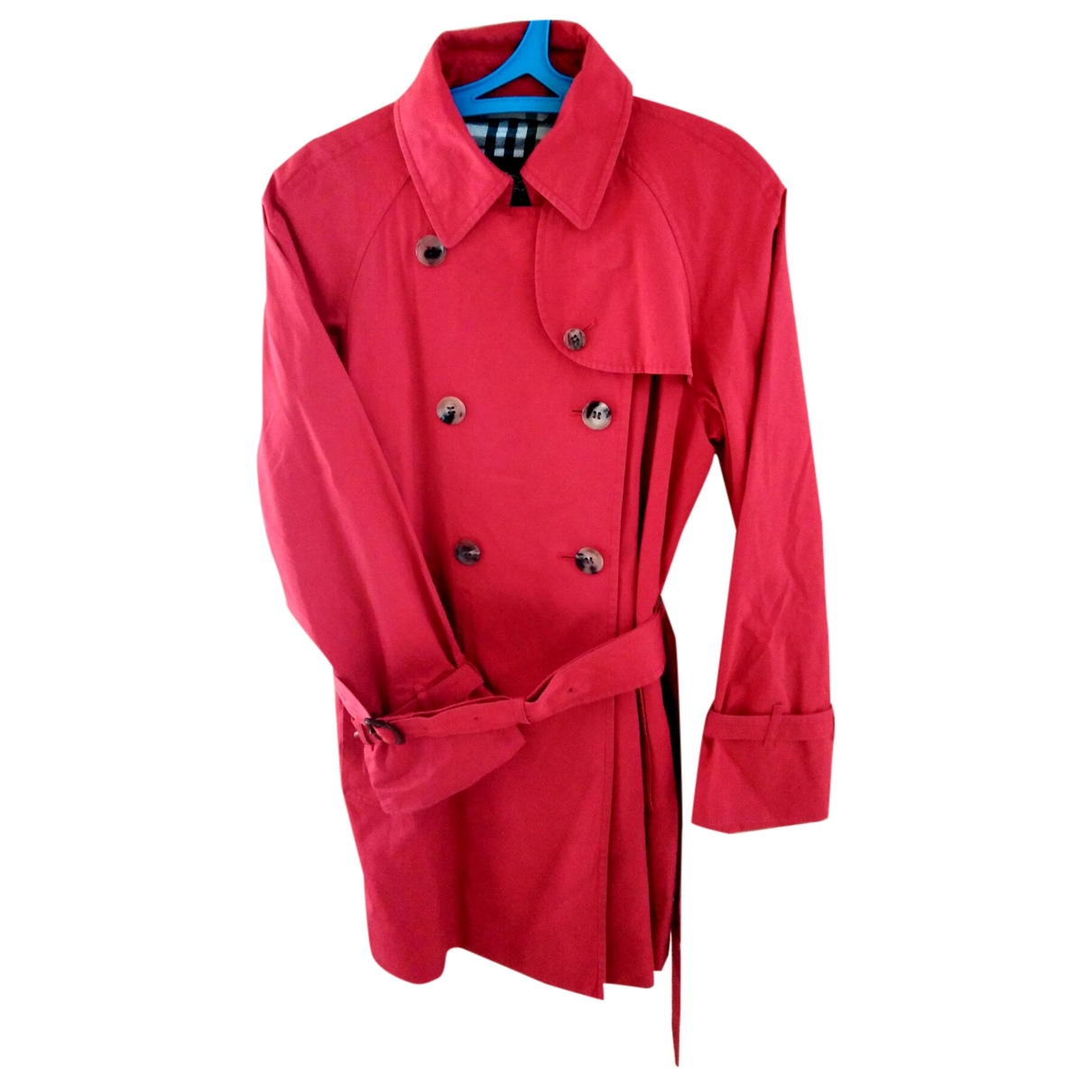 Burberry \N Red Cotton Trench coat for Women 40 FR
