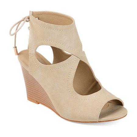 Journee Collection Womens Camia Wedge Sandals, 12 Medium, Beige